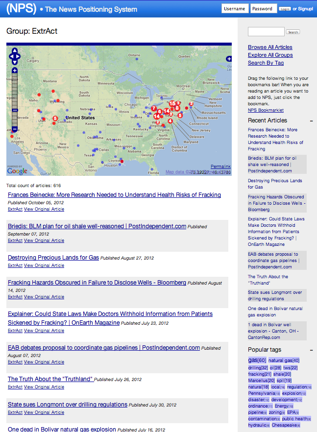 News Positioning System showing oil/gas related news stories a few weeks after its launch.