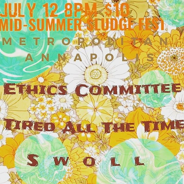 Show Friday in Annapolis at @metropolitanannapolis with @ethicscommittee @tiredallthetimeband and @ca8almusic . Music starts at 8. Gonna be fun one!