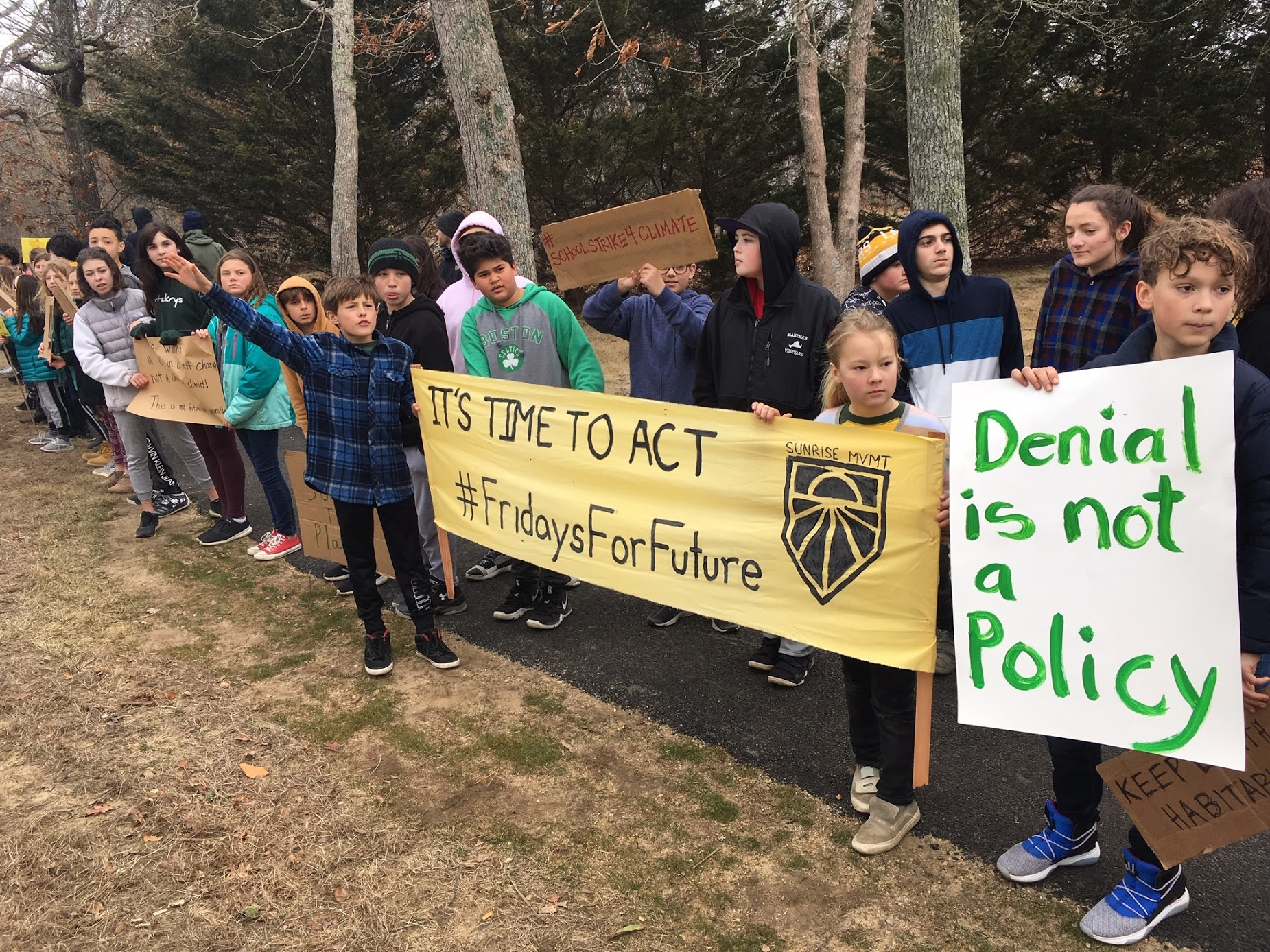 Martha's Vineyard Public Charter School students participating in student climate strike, March 2019