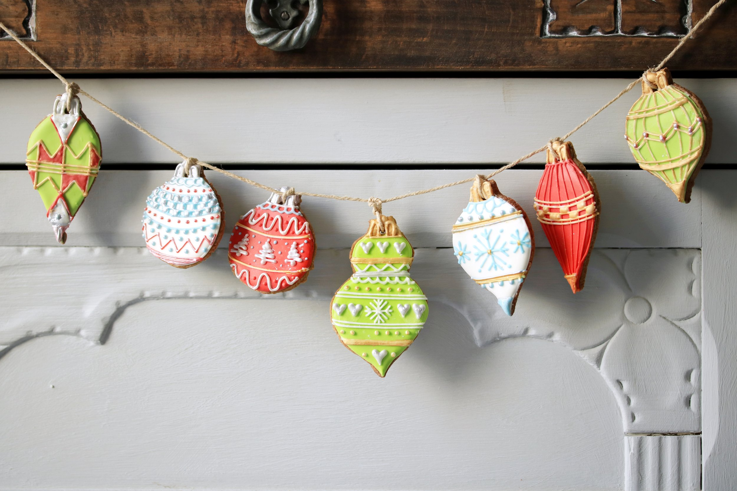 Ginger biscuit Christmas baubles