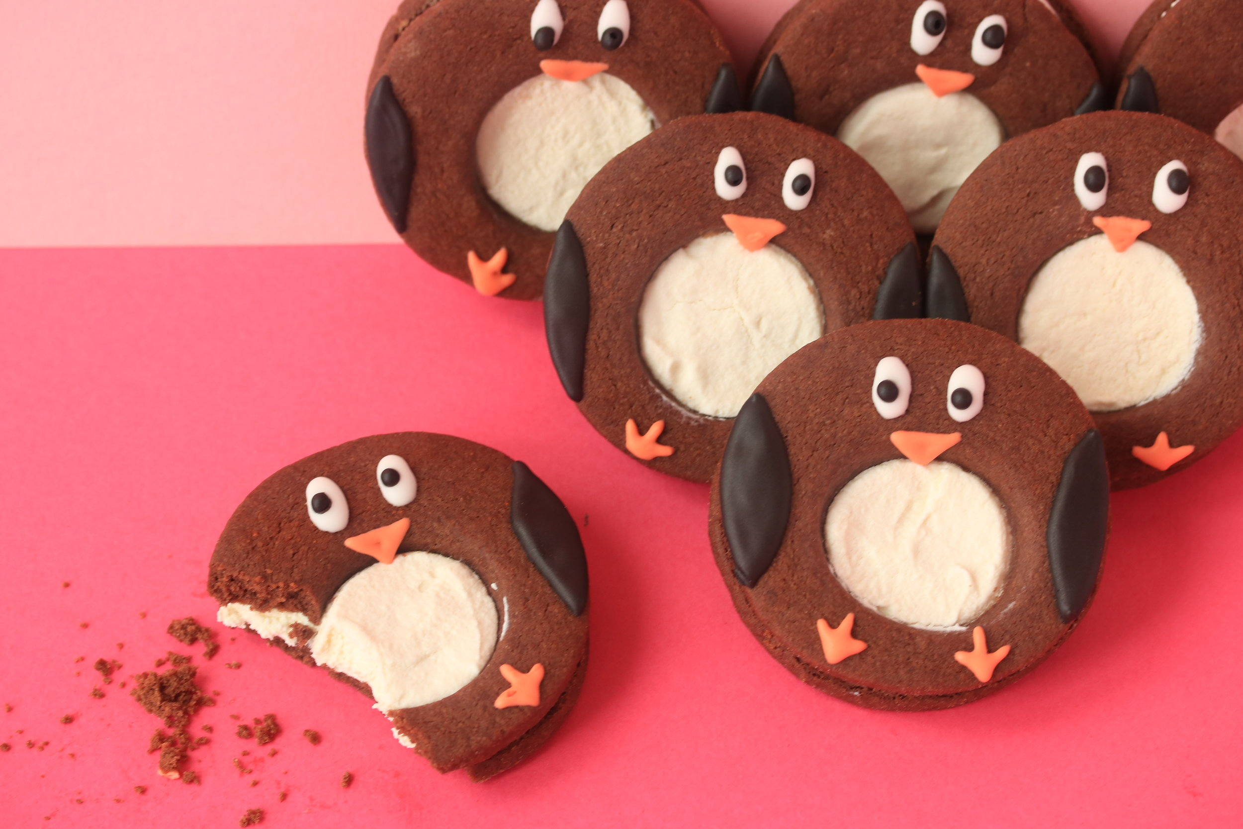 Chocolate and chilli penguin biscuits
