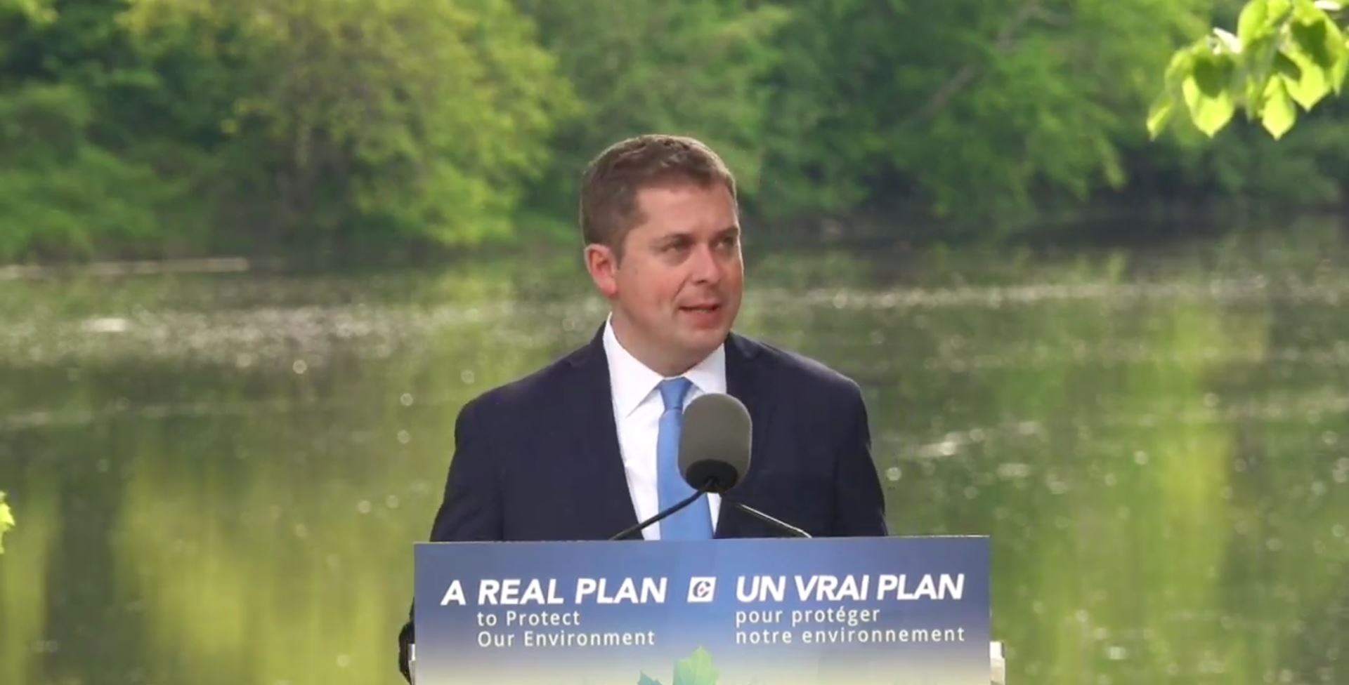 Andrew Sheer, Conservative Leader, revealing Conservative's plan for the Environment.