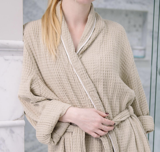 VIKOLINO Linen Robe  (Linen clothing for men & women)