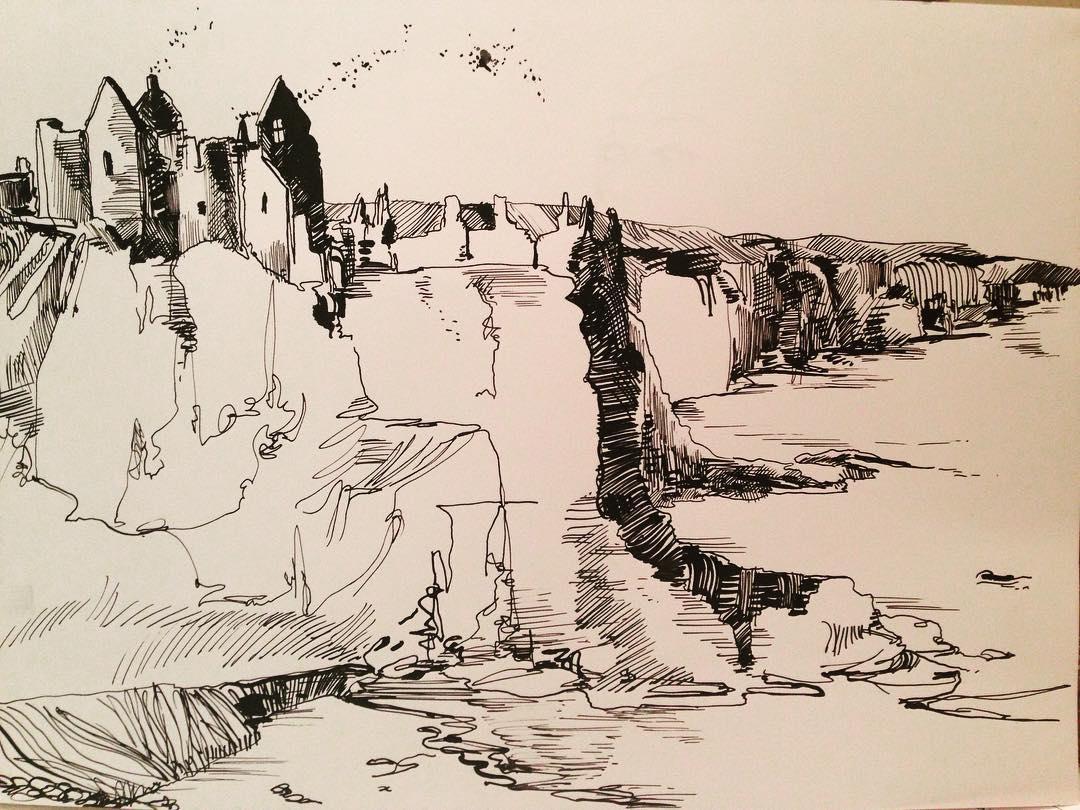"""Irish Coastline"", Ink, 12"" x 18"""