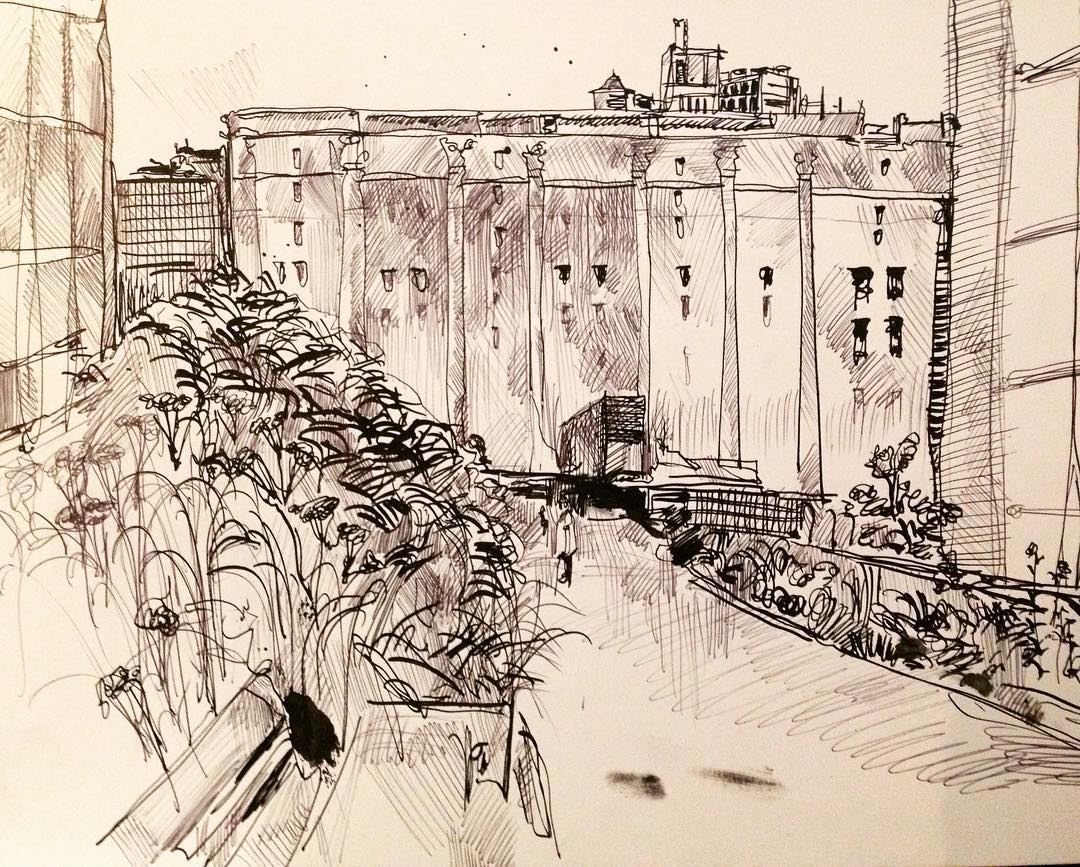 """High Line"", Ink, 12"" x 18"""