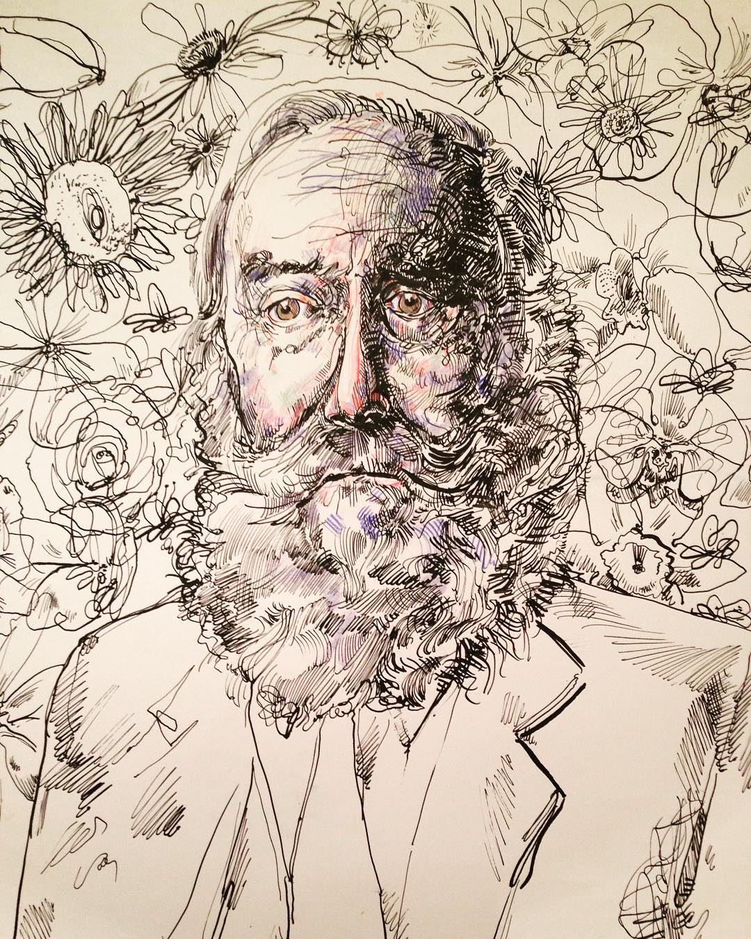 """""""Portrait of an Old Man"""", Ink, 12"""" x 18"""""""
