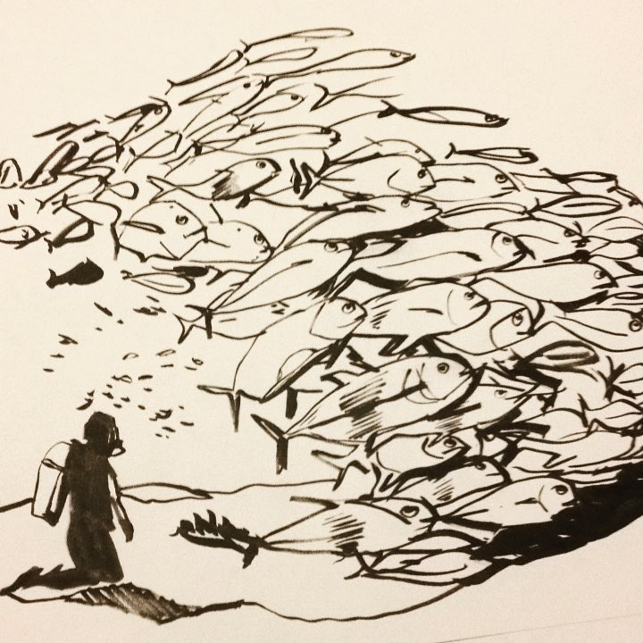 """""""Fish"""", Marker, 12"""" x 18"""""""