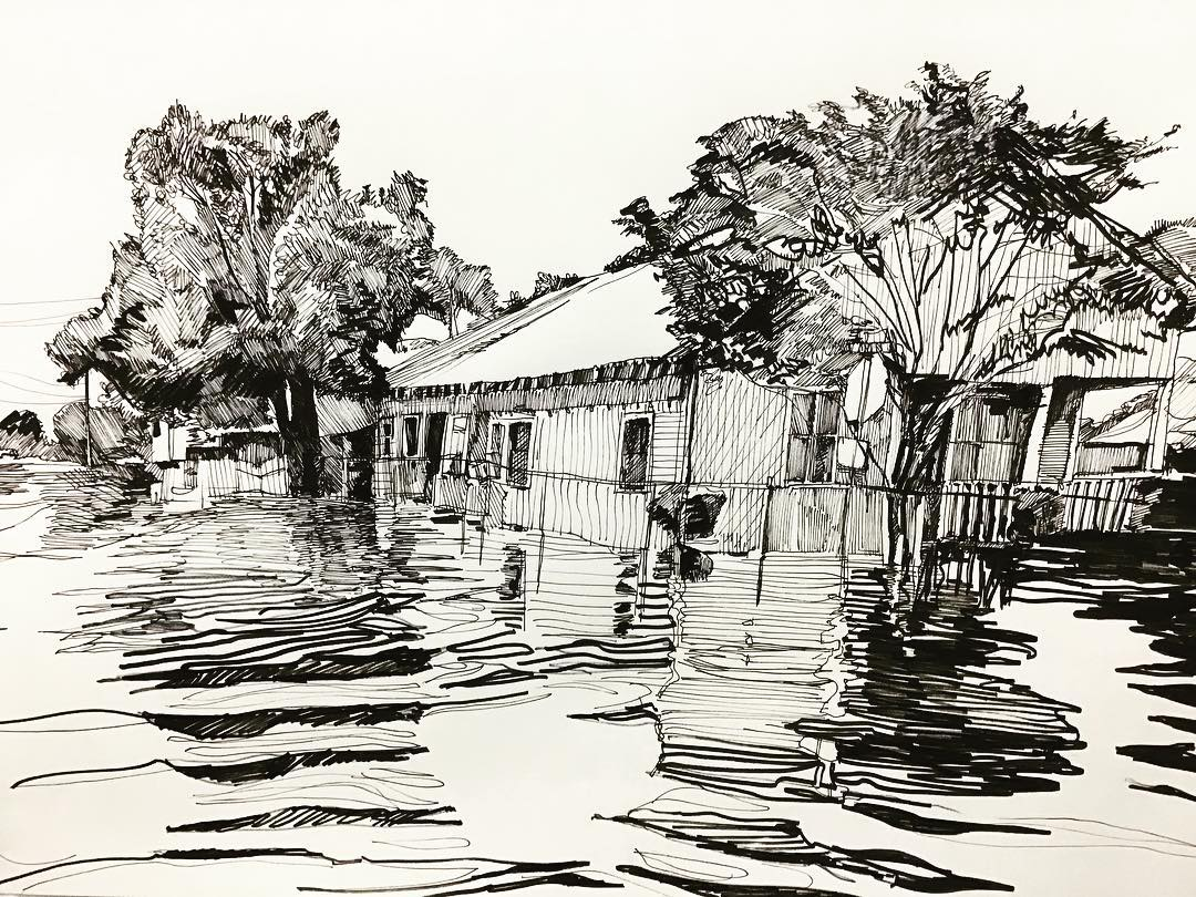 """""""Flooded Home"""", Ink, 18"""" x 24"""""""