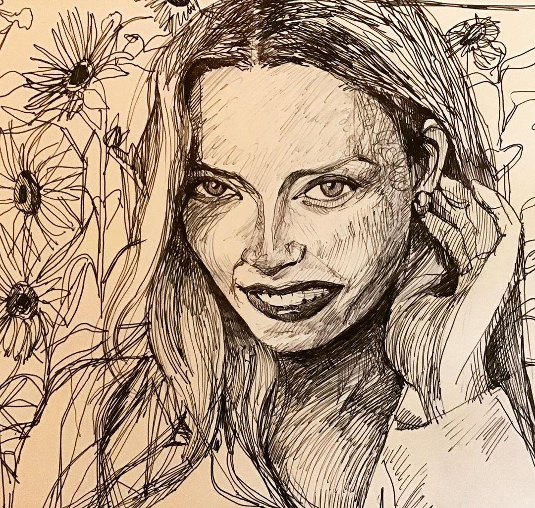 """""""Sunflower"""", Ink, 6"""" x 8"""""""