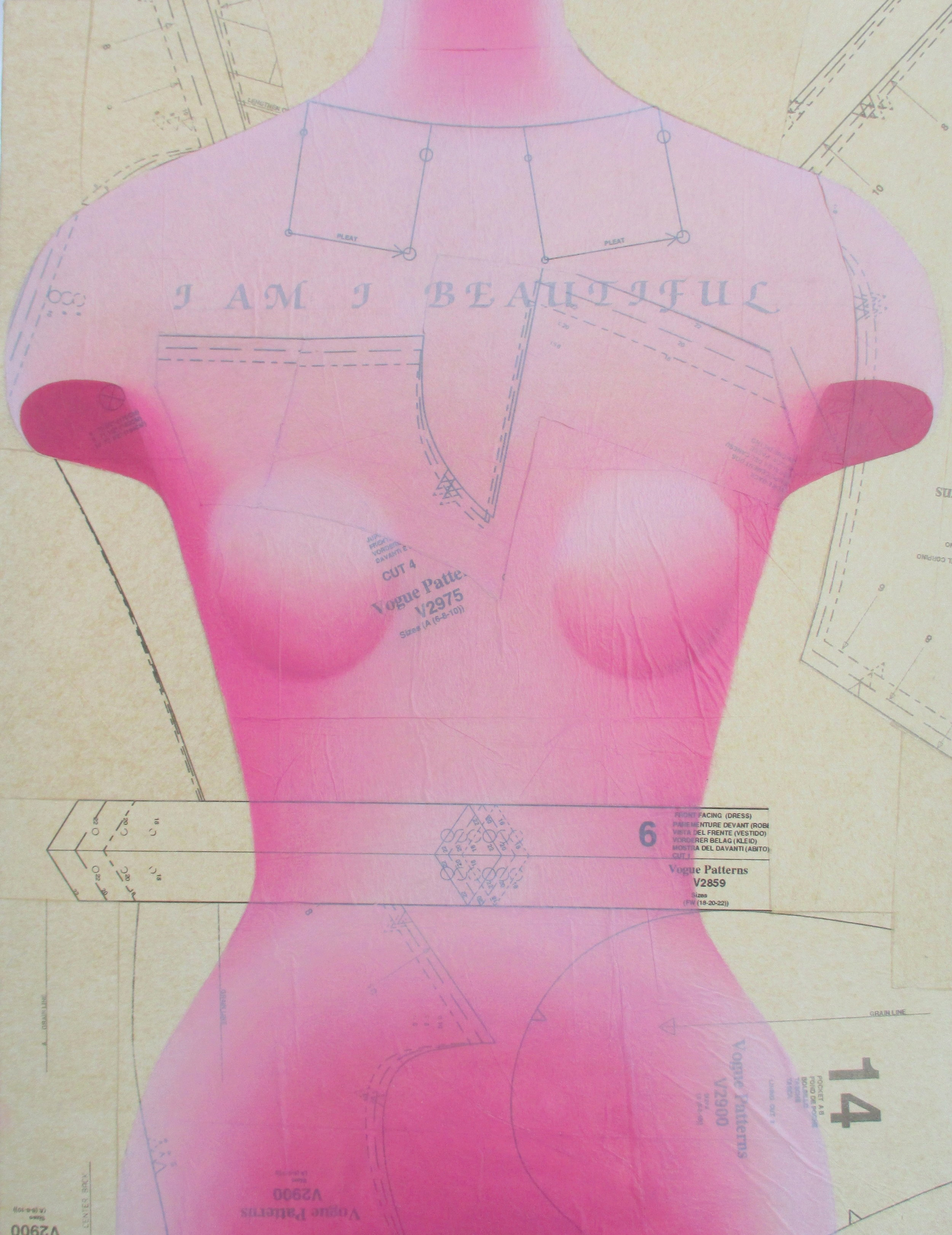 Sochor Lesia 'I Am I Beautiful' oil on collaged sewing pattern paper 19x27.jpg