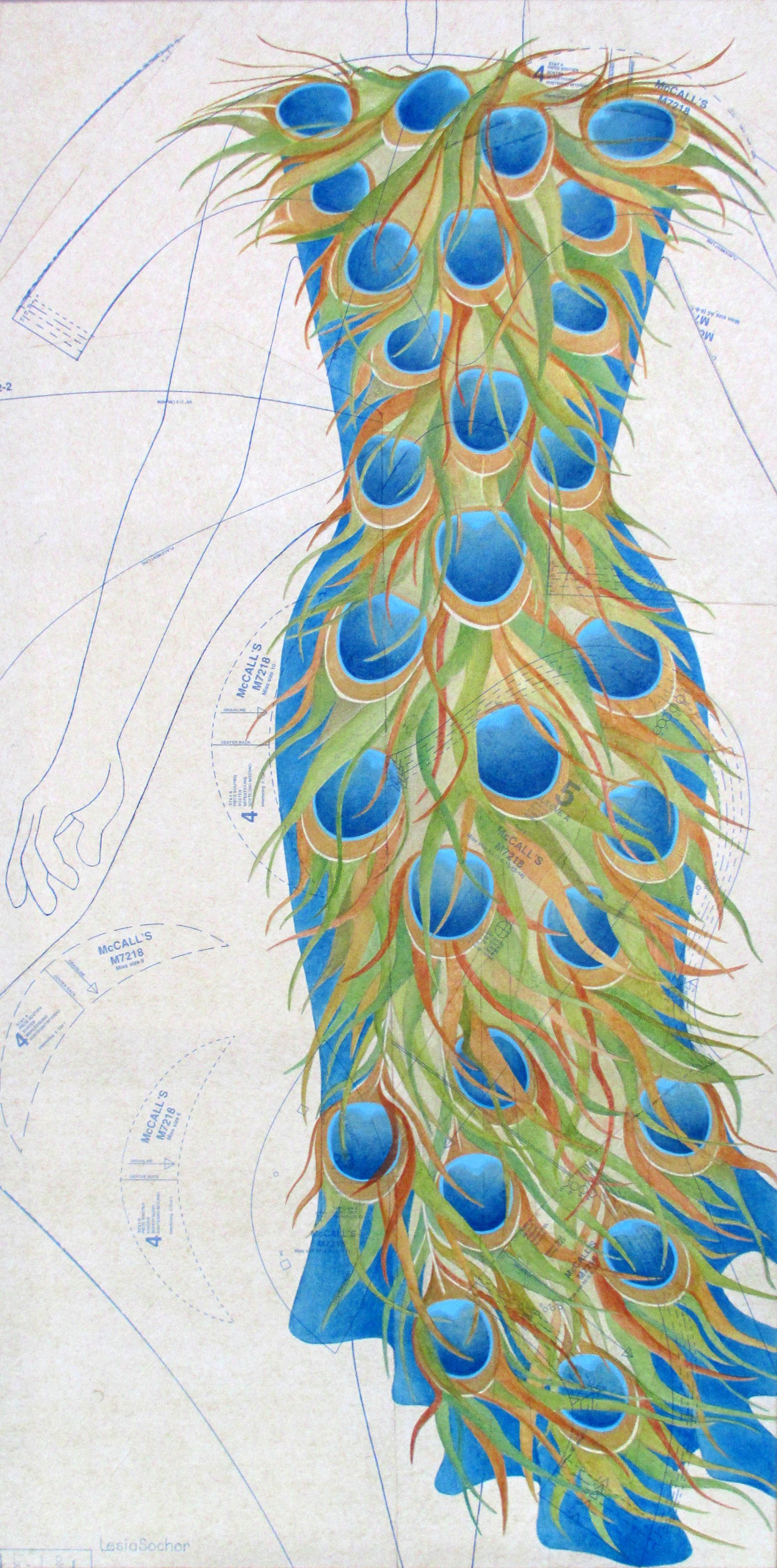 Sochor Lesia 'Preening' oil on collaged sewing pattern paper  24x48.jpg