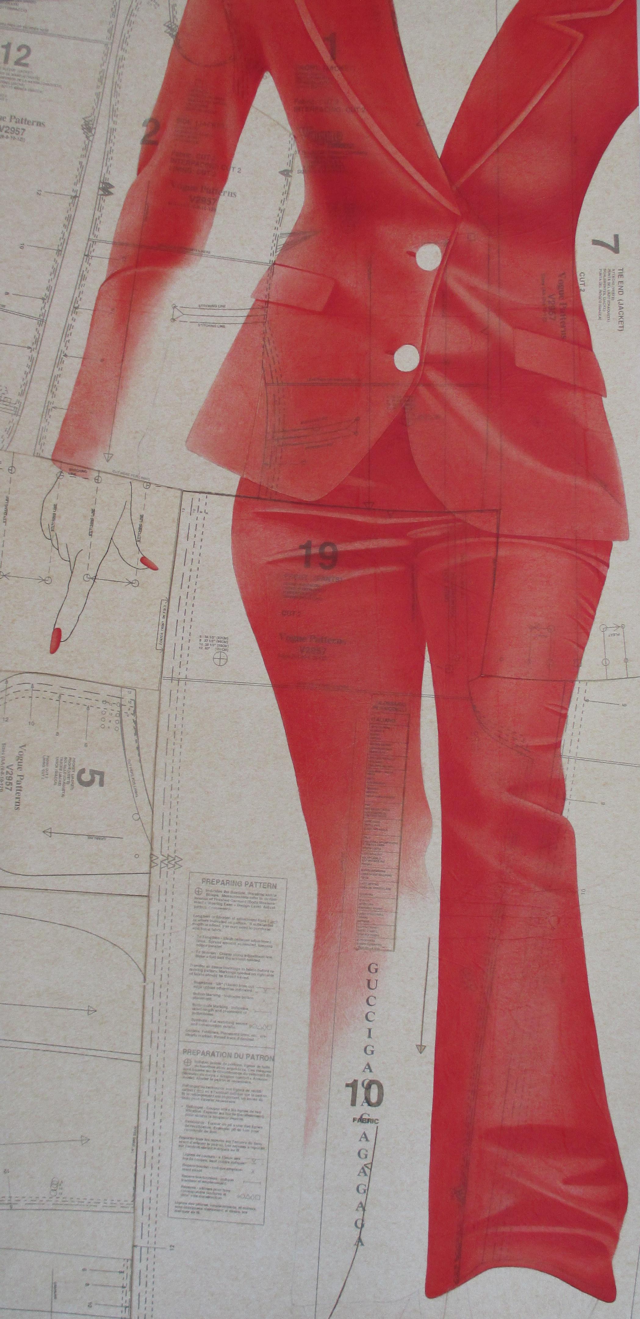 Sochor  'Gaga' oil on collaged sewing pattern paper 24x48.jpg