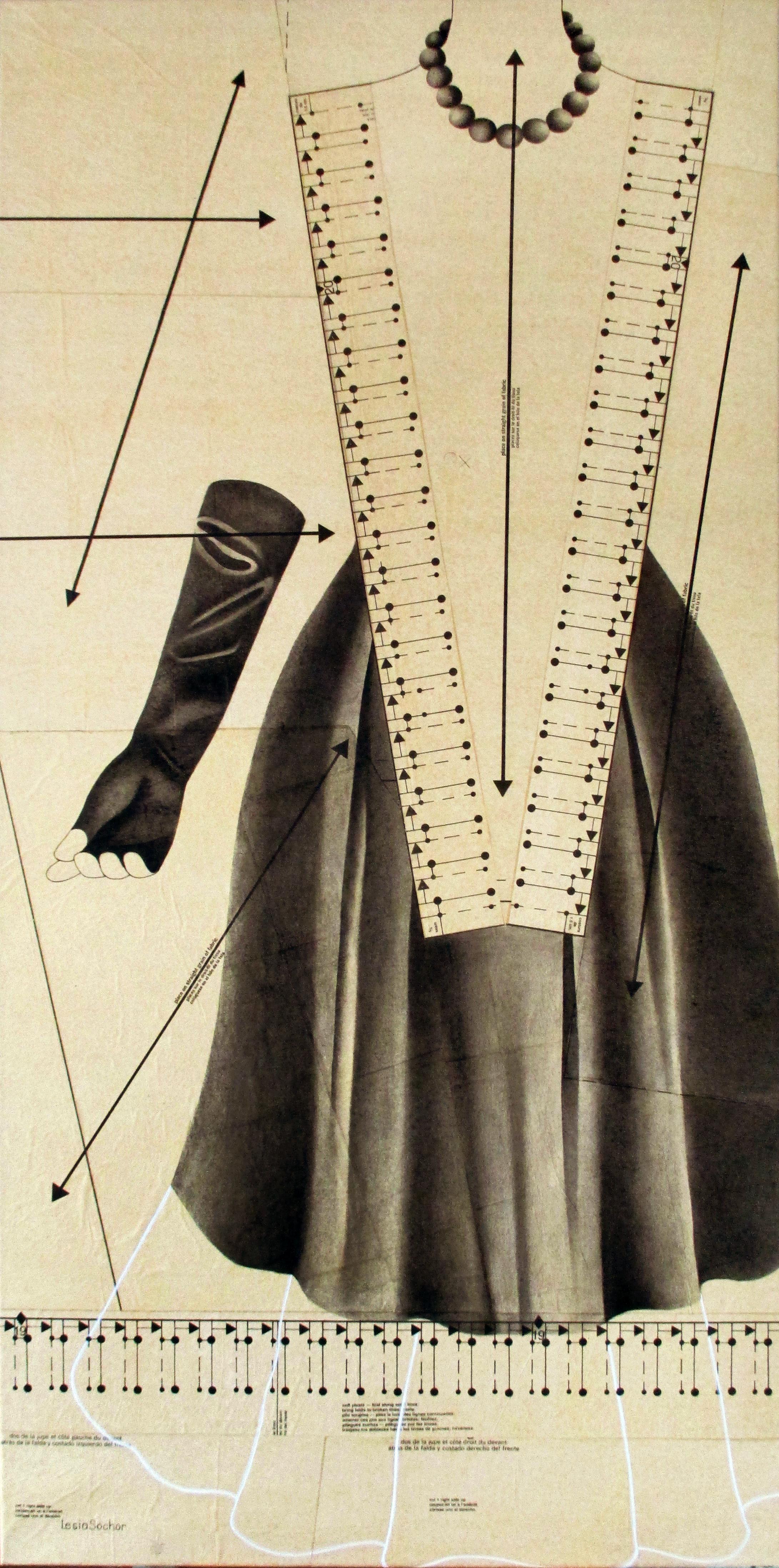 Sochor Lesia 'FRIDA'  oil on collaged sewing pattern paper 24x48  2015.jpg