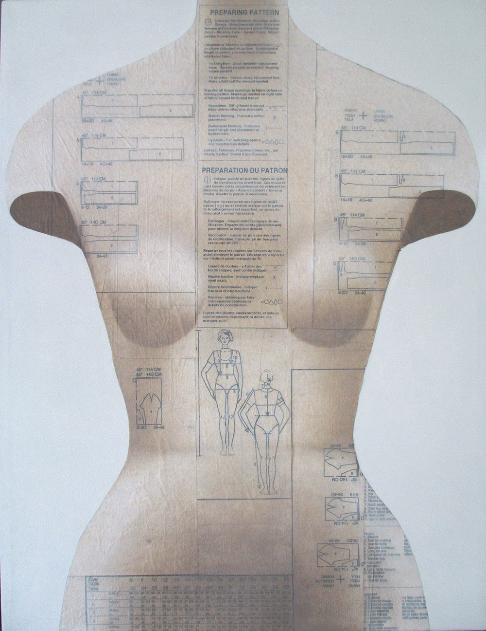 Sochor Lesia 'Fitting' oil on collaged sewing pattern paper 25x19.jpg
