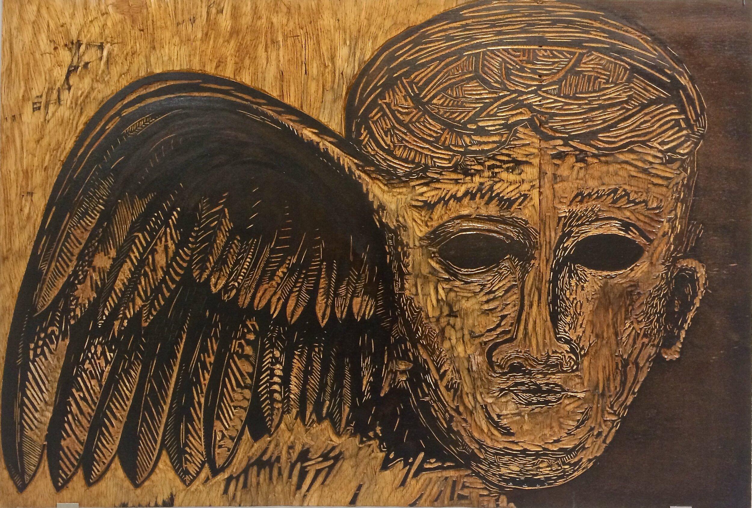 Hypnos, God of Sleep  (2019), woodcut block, David Wolfe
