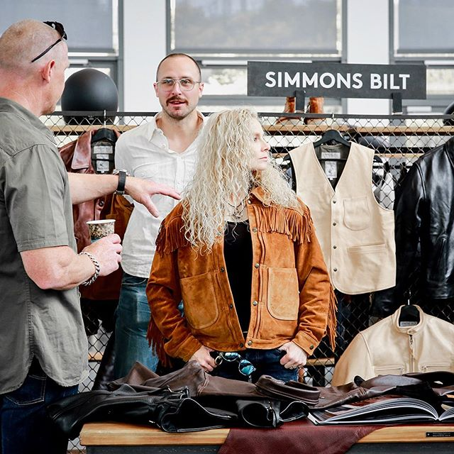At our show we enjoyed @simmonsbilt 's spirit of heritage and authenticity. We had a blast with you guys! . . . #simmonsbilt #craftmanship #zeitgeist #qualitygarments #craftedgoods #tradeshow #selvedgerun #authenticityguranteed #ss20 #bfw
