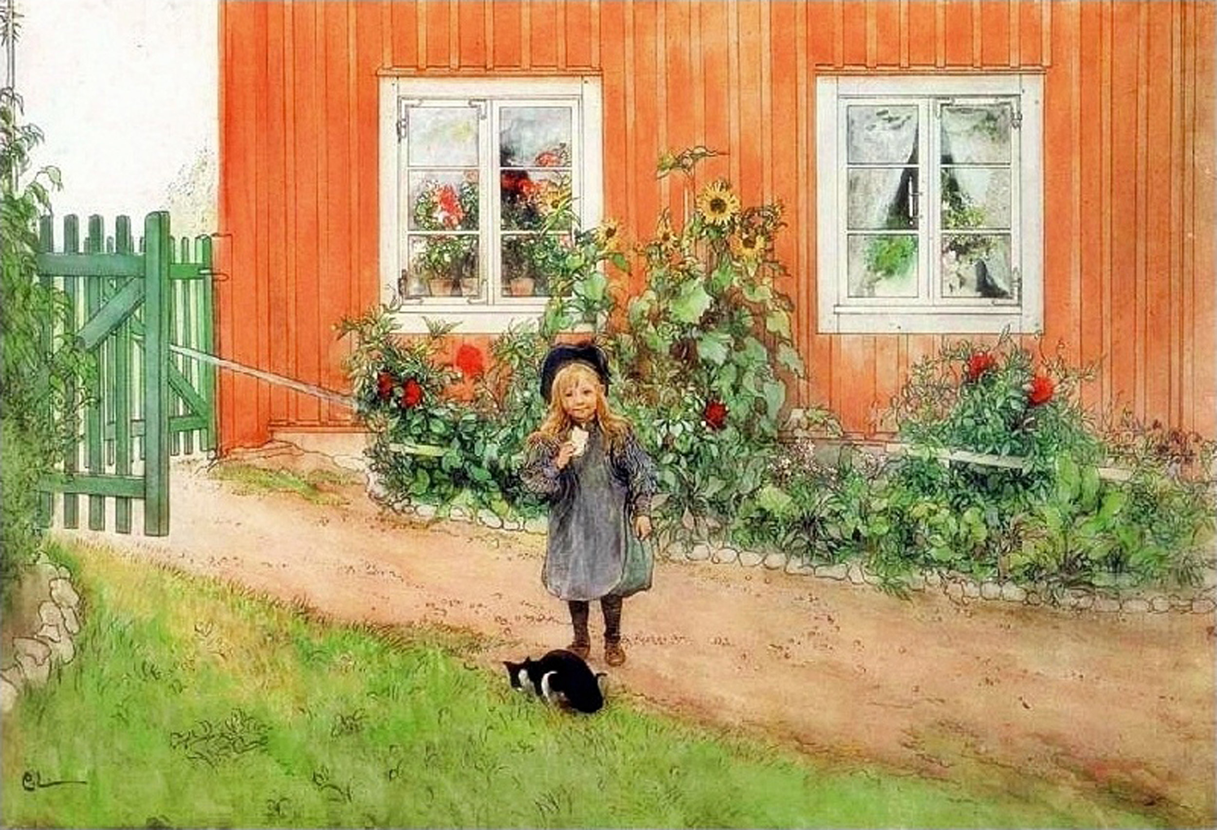 Carl Larsson | Brita With A Cat And A Sandwich.jpeg