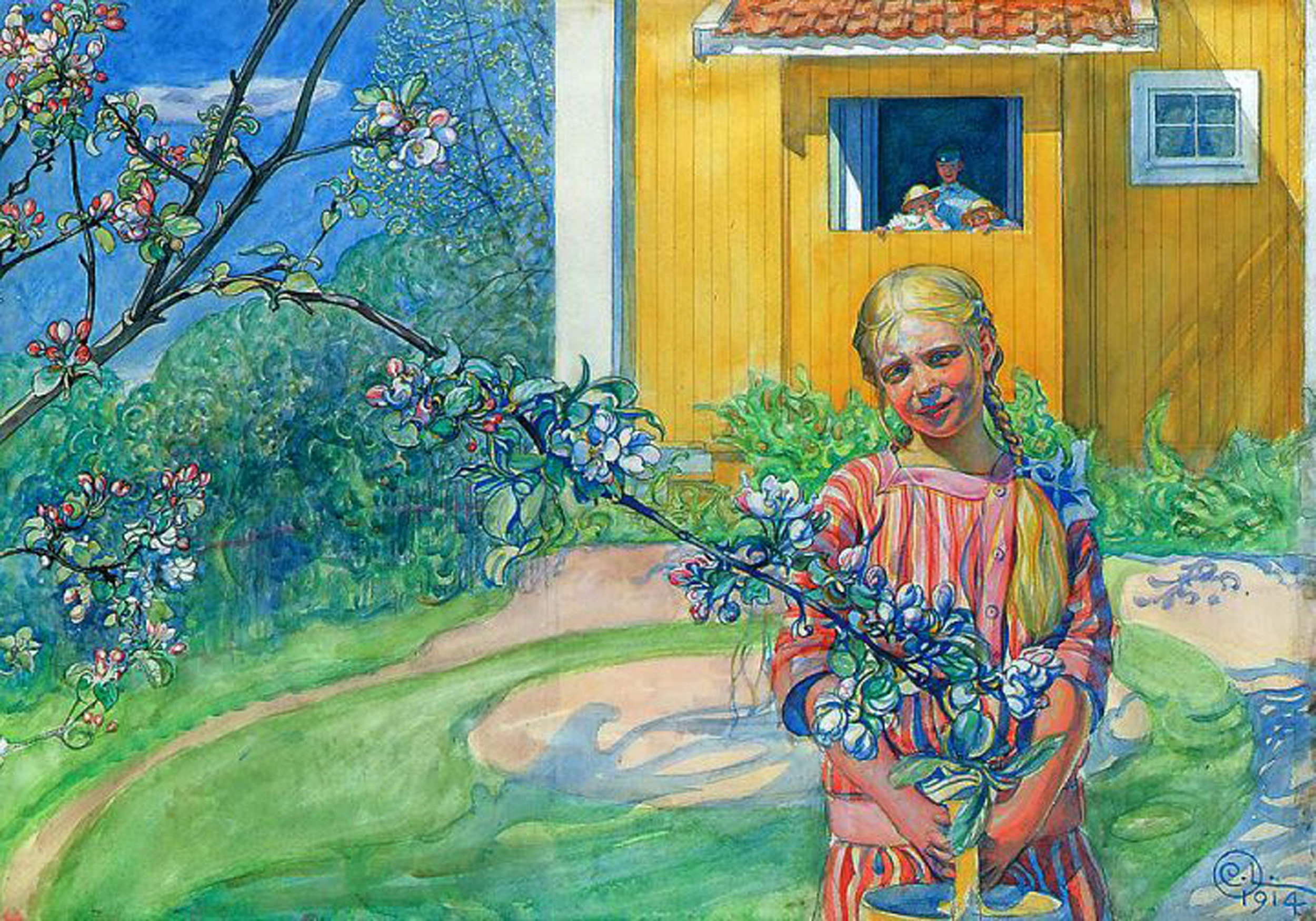 Carl Larsson | Girl with Apple Blossom 1914.jpeg