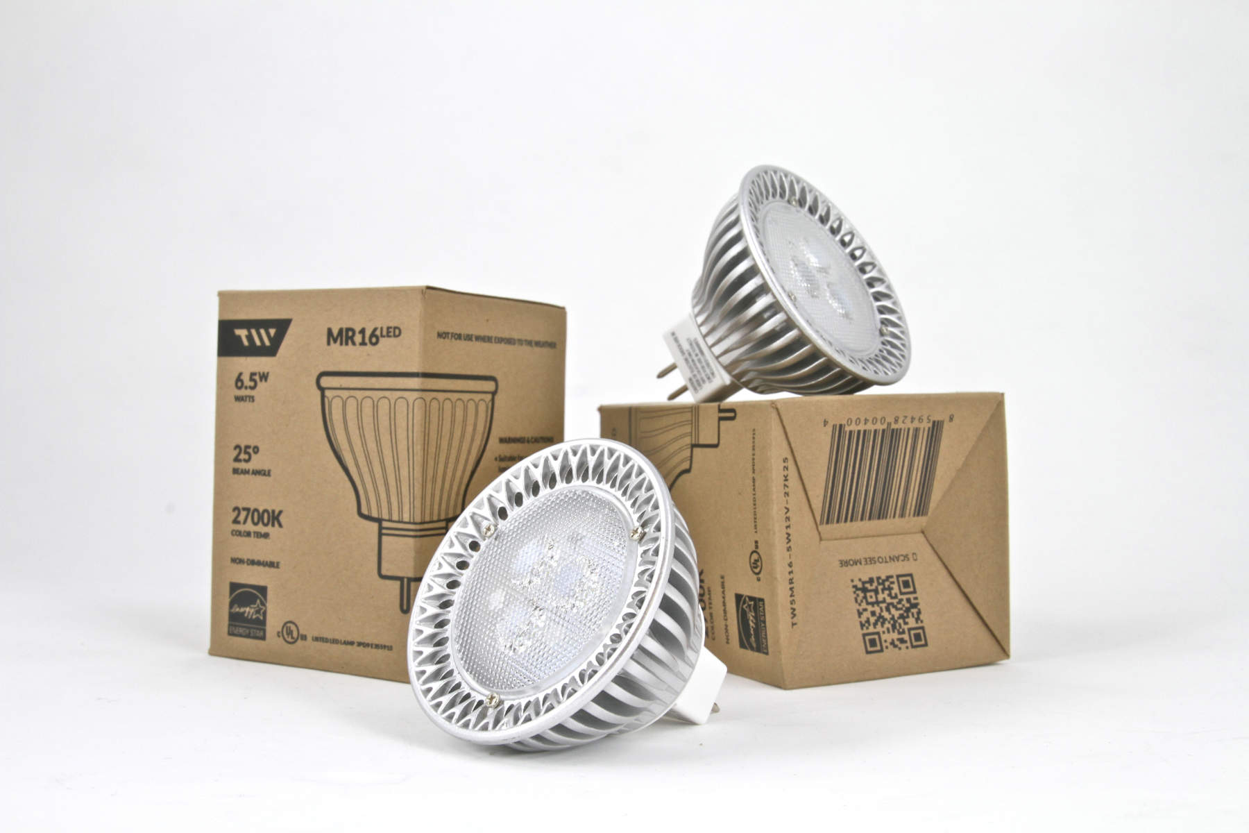 Packaging and physical example of TW Lighting's MR16LED bulb.