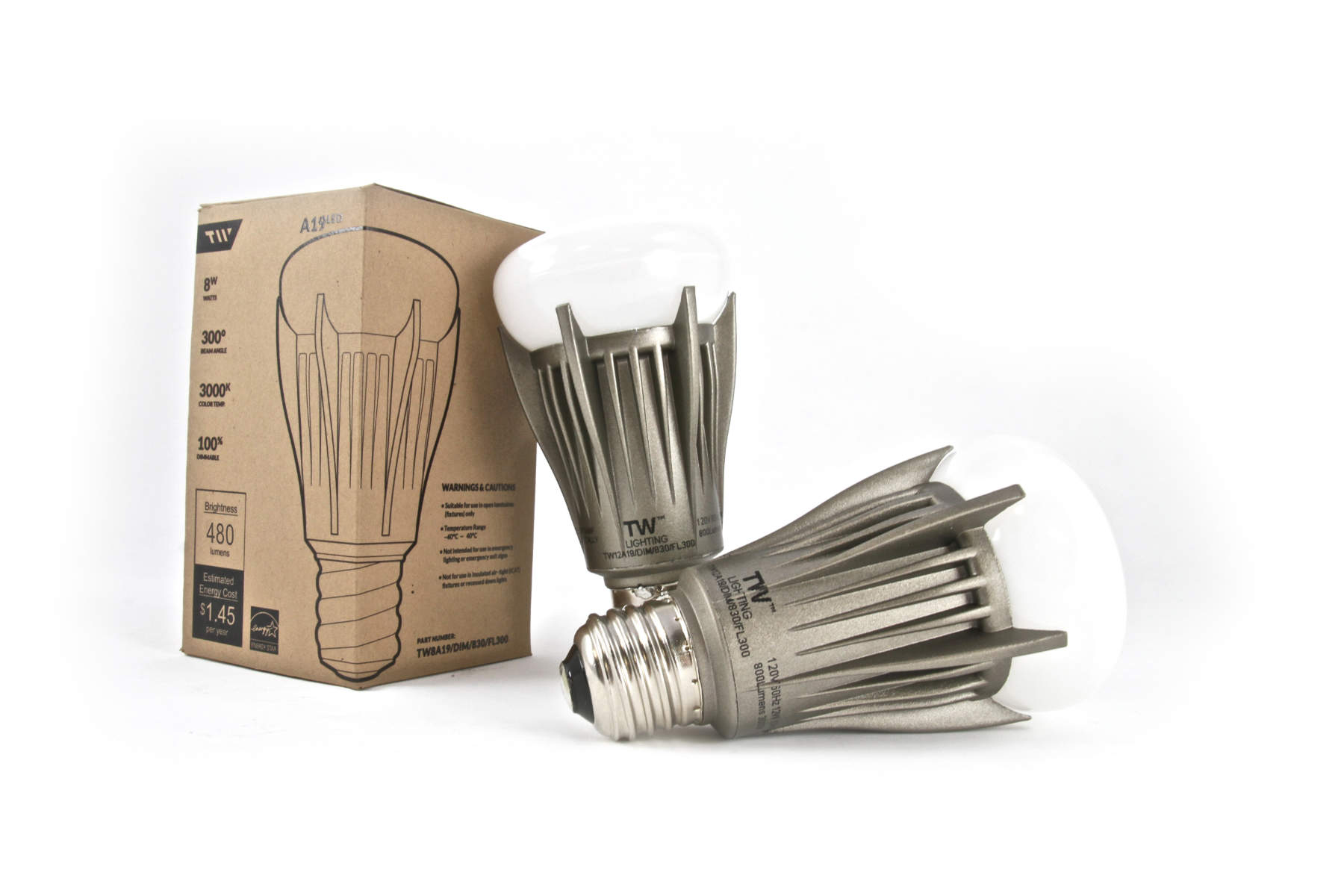 Packaging and physical sample of TW Lighting's A19LED bulb.