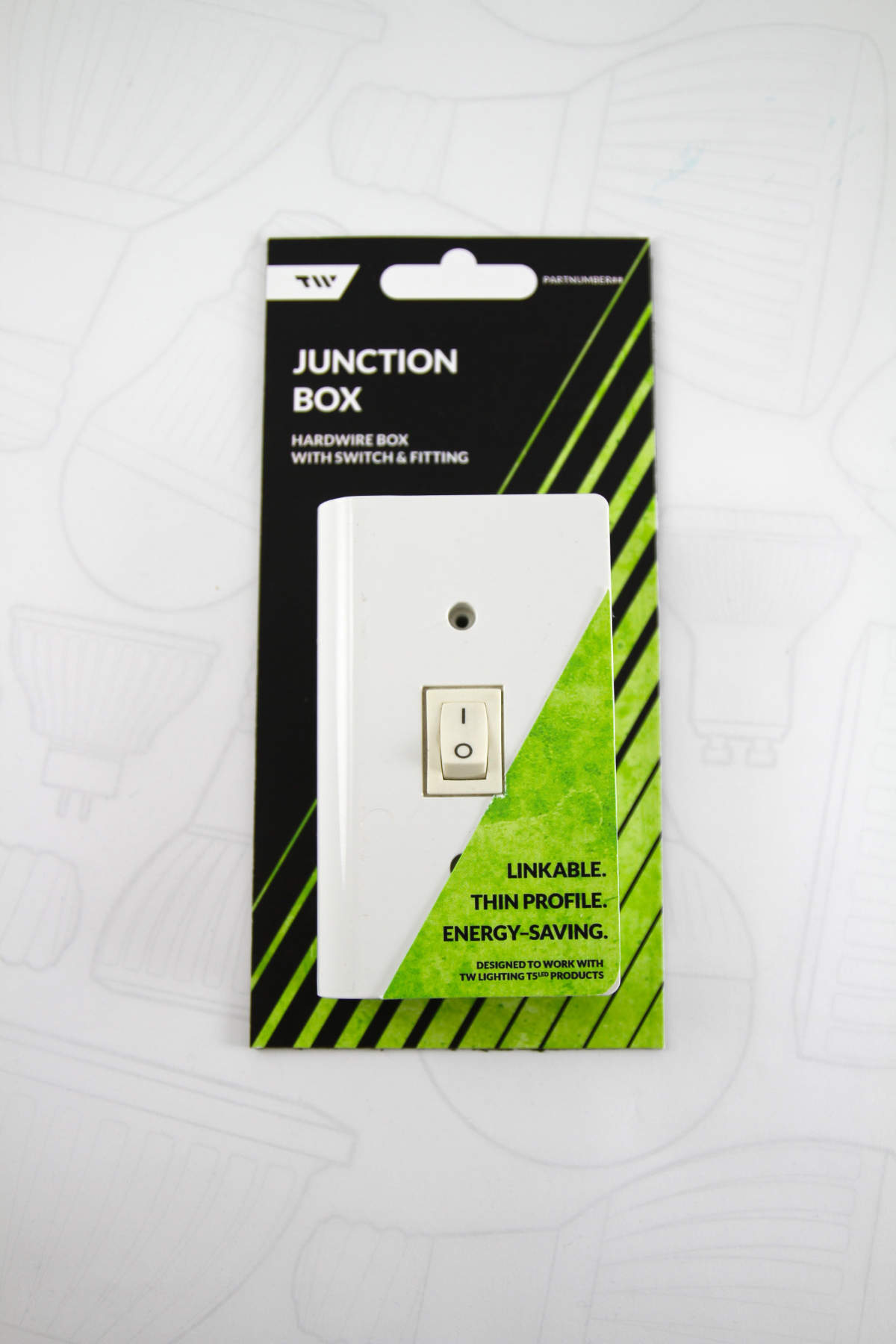 A linkable junction box and its packaging.