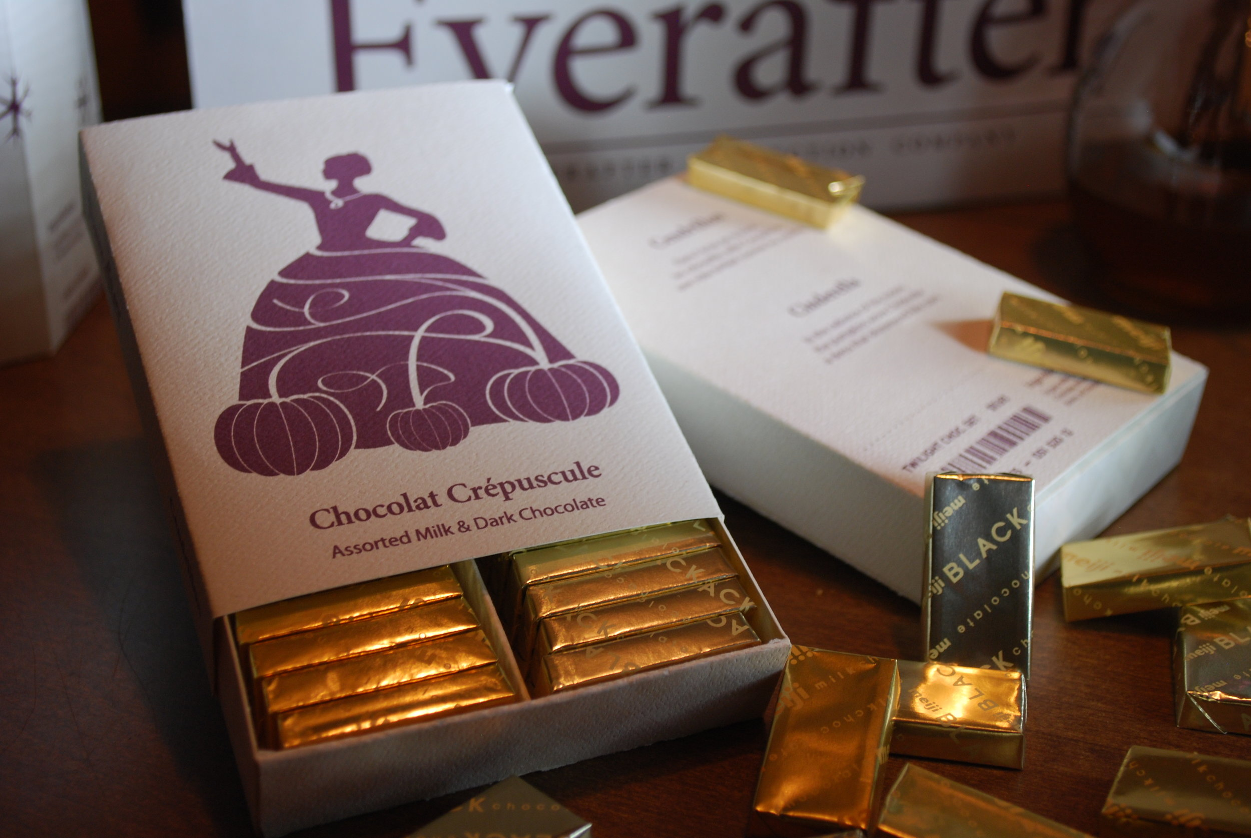Cinderella's Chocolate Twilight packaging featuring dark and milk chocolate.