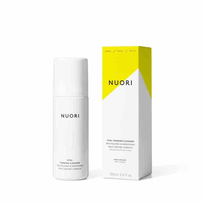 """Nuori Vital Foaming Cleanser - Guys this cleanser is so amazing. My friend Keri was staying at my house and we were in the bathroom getting ready for bed and I asked her, """"what is on your face and why does it look so good?"""" It was Nuori Cleanser. It looked like she had this hydrating cream on that made her skin look insanely good and glow-y. It's almost like a treatment and cleanser in one. So you put the foaming cleanser on your skin and it turns into this creamy dream on your face and after you rinse it off your skin still looks incredible. After I used it once I ordered it immediately. Not only is this product incredible, but Nuori is all about Fresh skincare. They put batch numbers on their products like an expiration date because they do not put any chemicals in them that allow for a long shelf life. I'm extremely impressed with this brand and in love with their cleanser."""