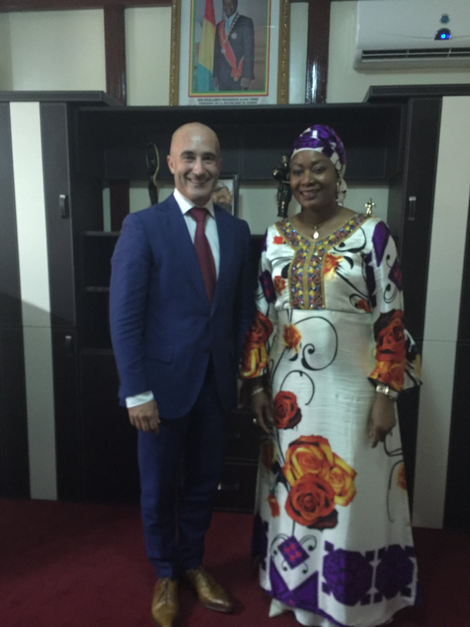 - With the First Lady of the Republic of Guinea Her Excellency Djene Kaba Conde in Conakry