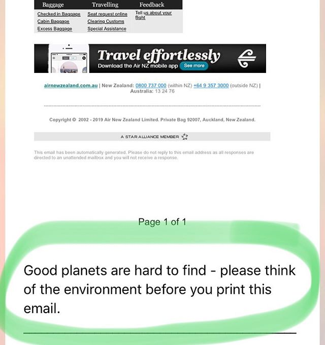 You said it #airnewzealand ! (Now please reduce your inflight one-use plastics) Good planets are hard to find and we already have ourselves a damn good one!  So think twice before you print!! ✊🏼💚🌳🌲🌳🌲 #savethetrees #reduceprinting #ecooffice #sustainability #yachting #yachtpurser #greenyachting #sustainableyachting #yachtstew #yachtcrew #yachties #luxuryyachting #greenoffice #makethegreenchoice #yachtstewardess #thegreenstew #ecofriendly