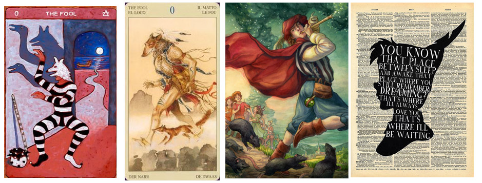 The Fool as Trickster - from left to right -  The Tarot de St.Croix ,  The Native American Tarot ,  The Pied Piper by Elizabeth Alba ,  Peter Pan
