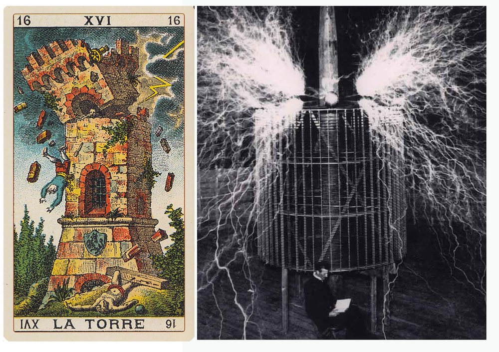 The Tower from the Keats Tarot, Tesla relaxed and reading beneath his coil.
