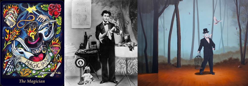 "The Magician -    Bonefire Tarot    Gabi Angus, Harry Houdini, ""The Magician"" Jim and Lynn Lemyre"