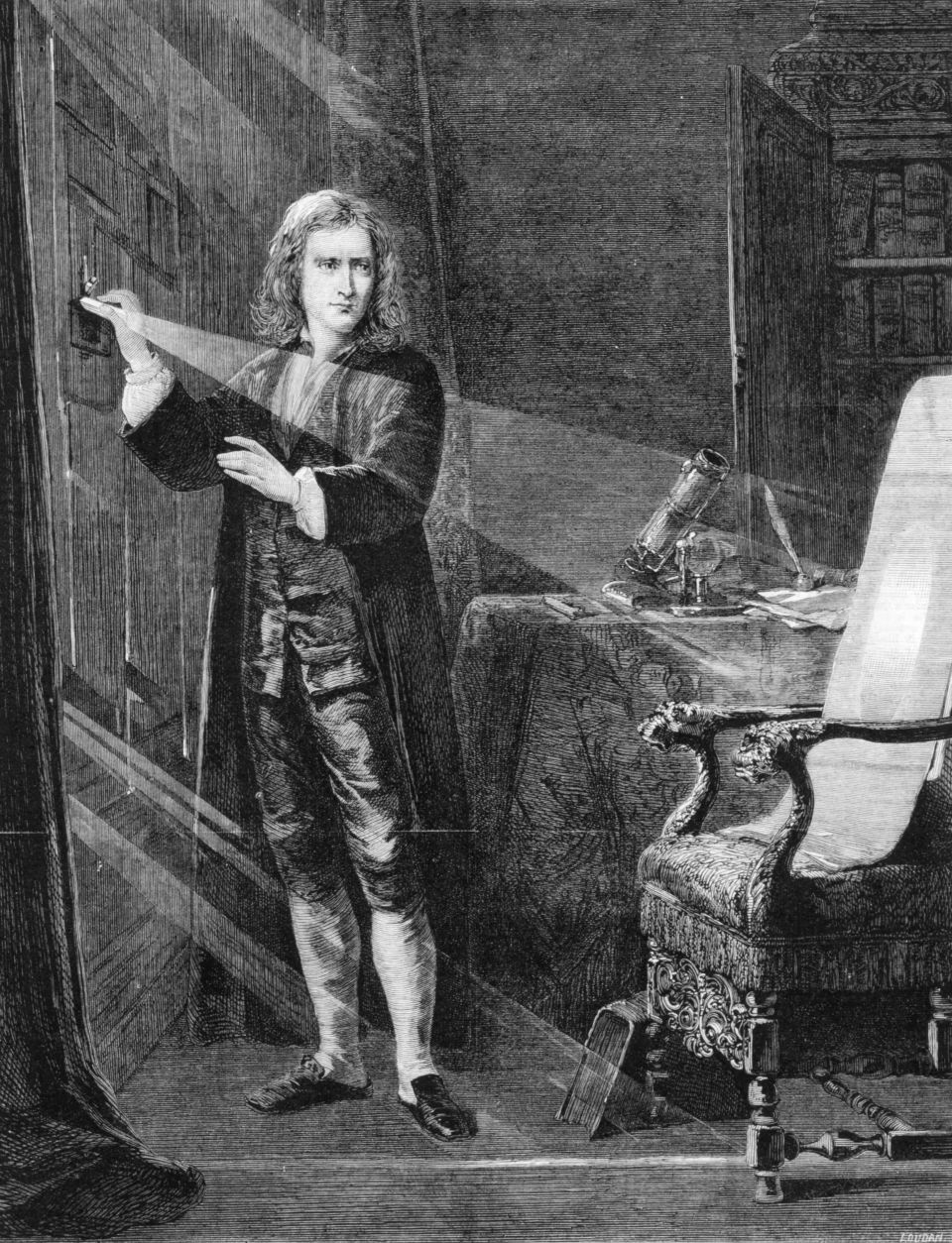 A portrait of Newton investigating light by J A Houston, circa 1879.