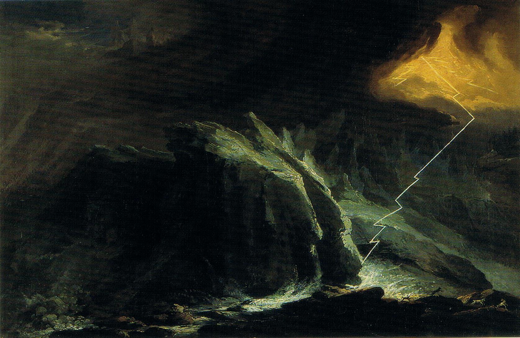 Thunderstorm on the Grindelwald glacier, Caspar Wolf