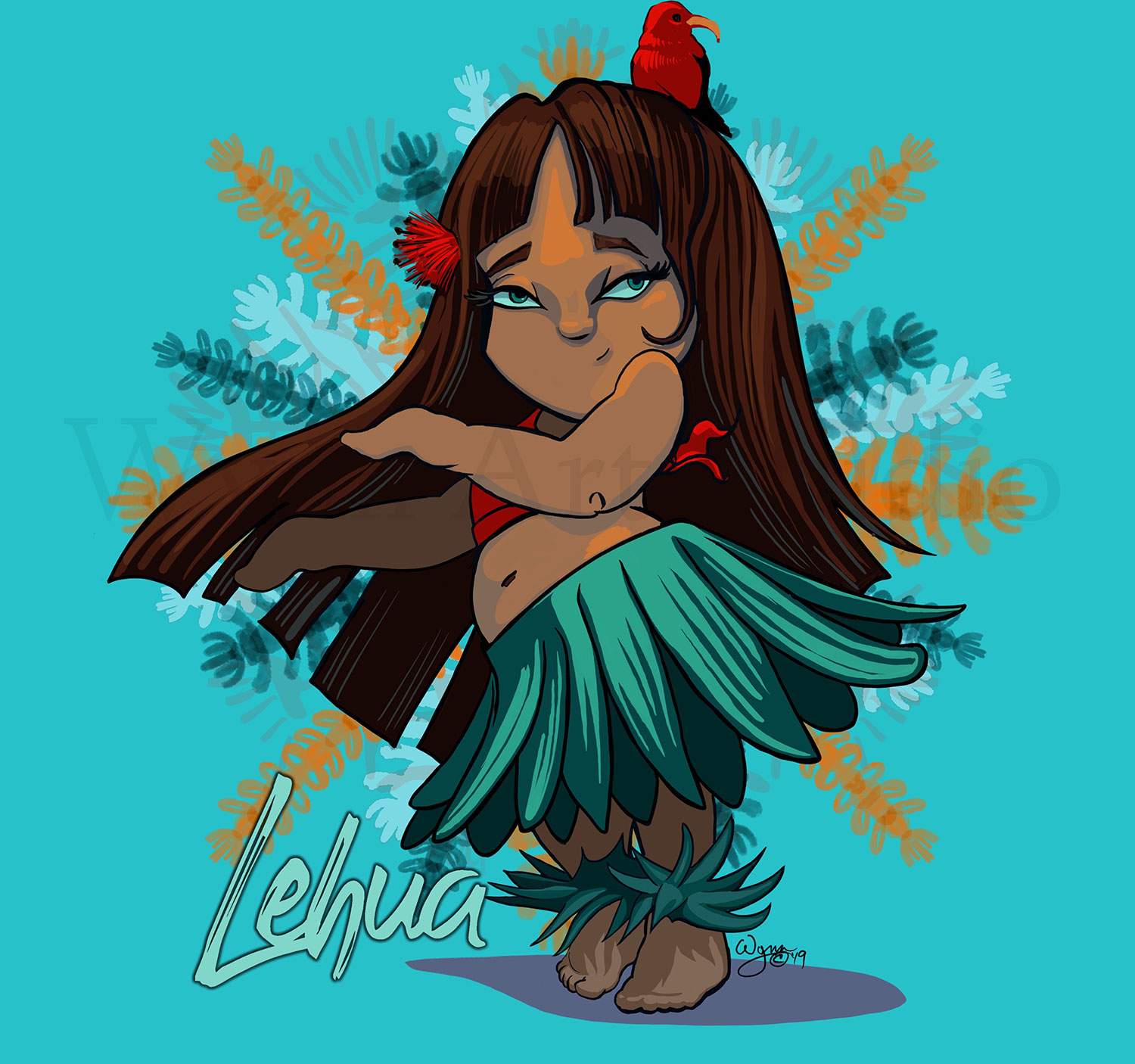 Lehua Hula Girl Illustration  Products available on Threadless.