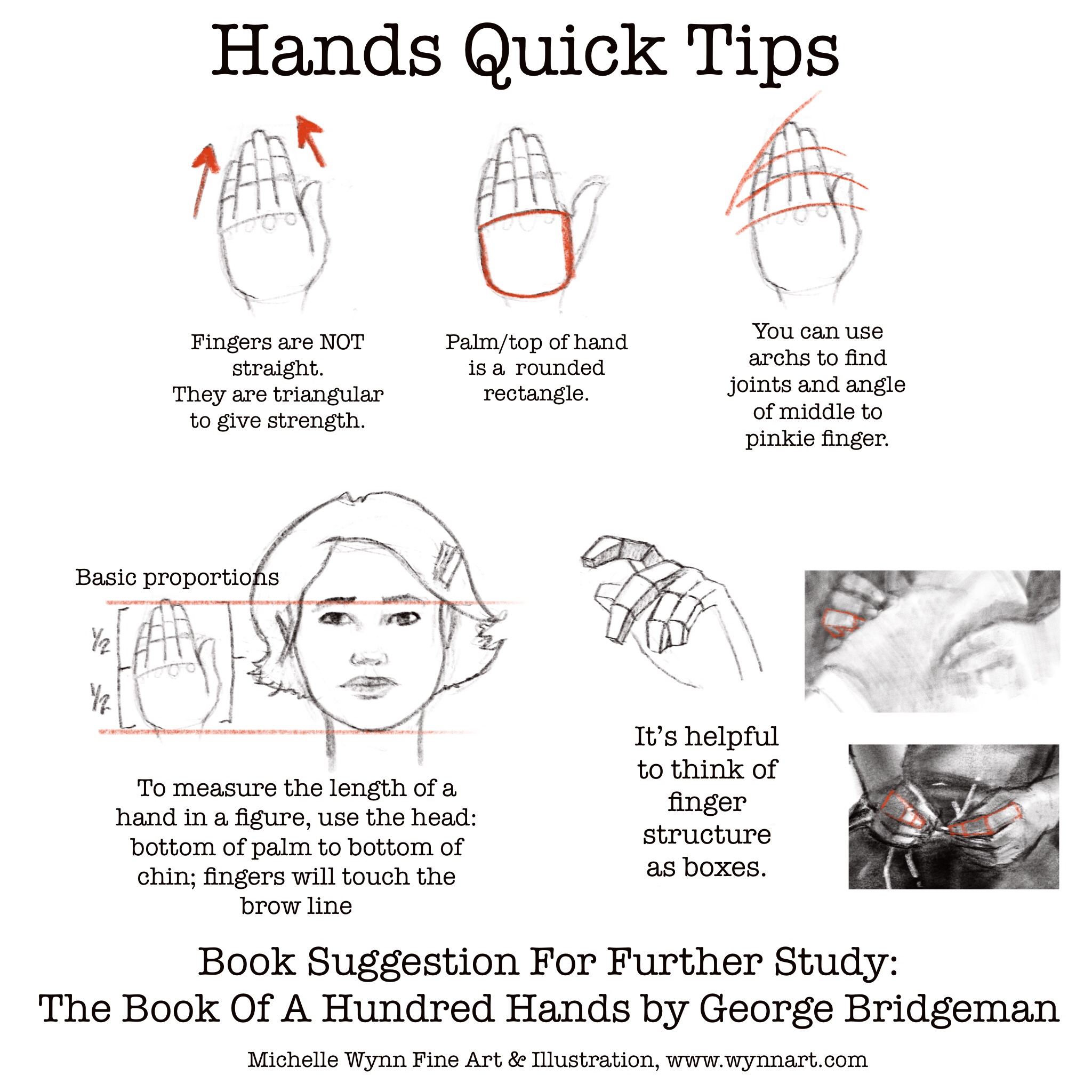 A Quick Tip Sheet For Drawing Hands.