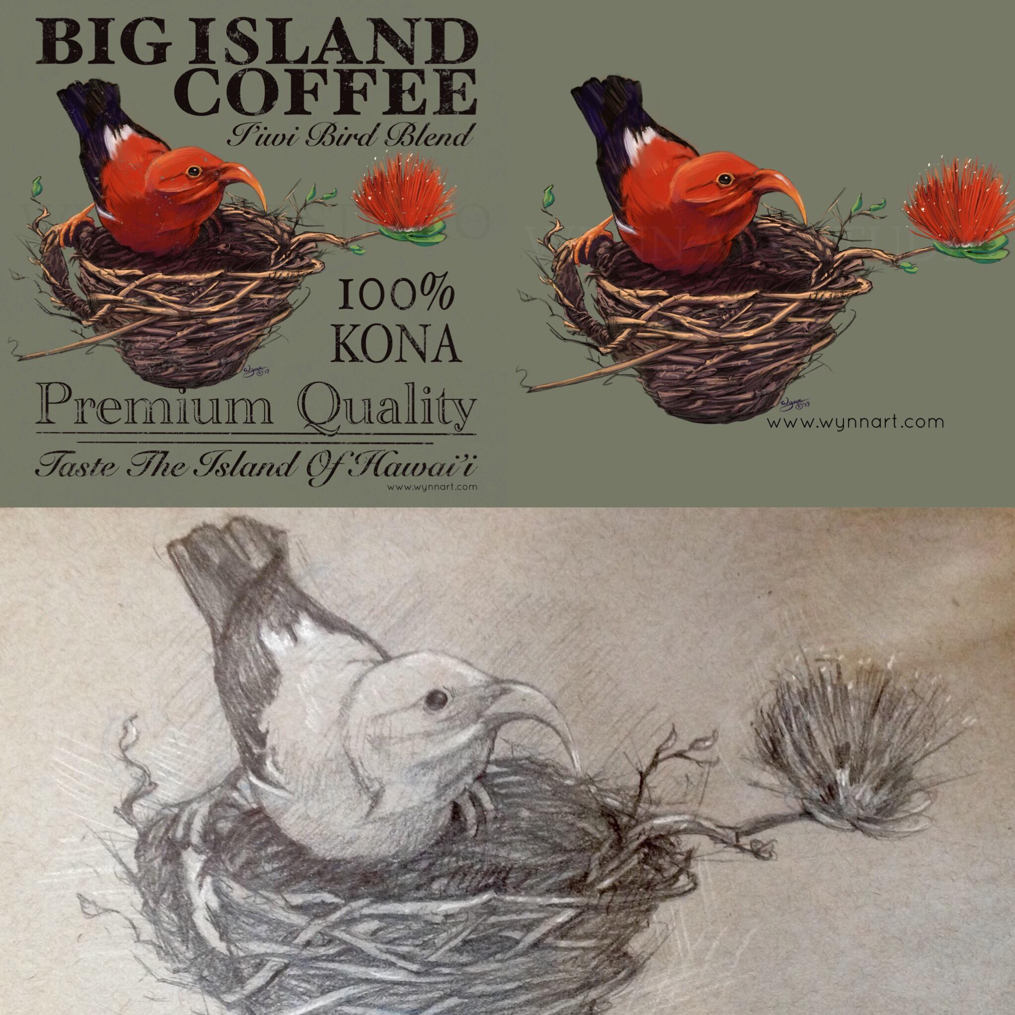 The magical Island of Hawaii, where the i'iwi bird, ohia-lehua and Kona coffee grow.