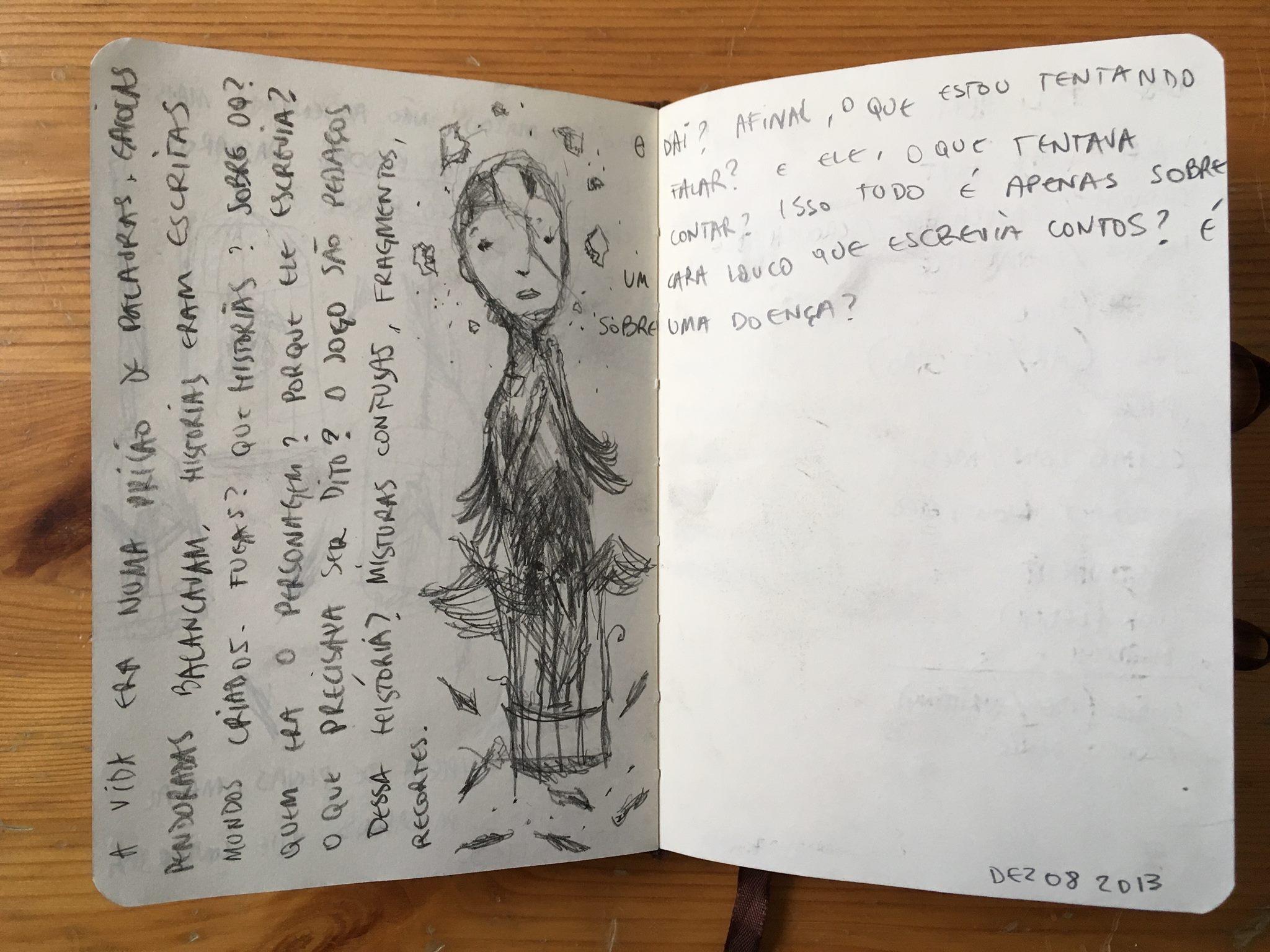 Ideias e esboços para The Guilt and the Shadow, de Frederico Machuca