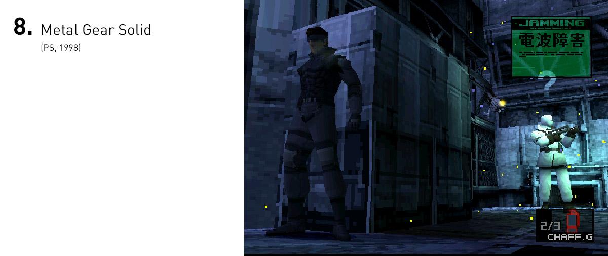 Metal Gear Solid foi um marco por inúmeras razões, como sua câmera inovadora, em total sintonia com as mecânicas que pediam discrição do jogador, em vez de uma postura ofensiva, e sua trama com questionamentos sobre guerra.