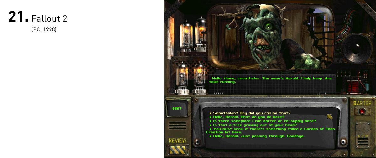 Fallout surpreendeu com seu cenário pós-apocalíptico retrofuturista, que inseria o jogador em um mundo extremo e cruel, dando-lhe um grau de liberdade imenso. Sua continuação expandiu seu universo ainda mais, tanto em seus temas quanto nas possibilidades de interação e narrativa que emergiam das suas escolhas.
