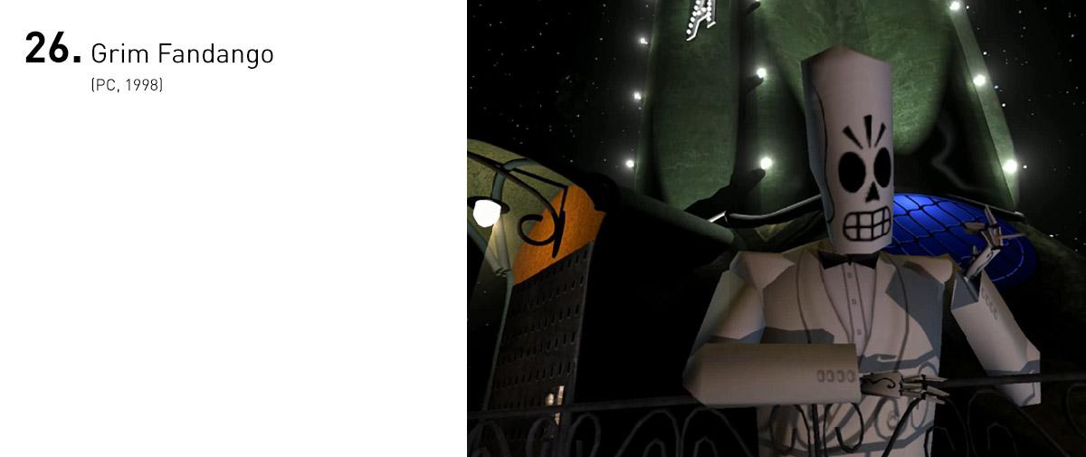 Grim Fandango levou adiante o estilo de narrativa bem humorado da LucasArts (e seu criador, Tim Schafer), pela primeira vez em 3D. O roteiro excepcional, o design inteligente e o estilo noir deram vida a um dos jogos mais relevantes da década.