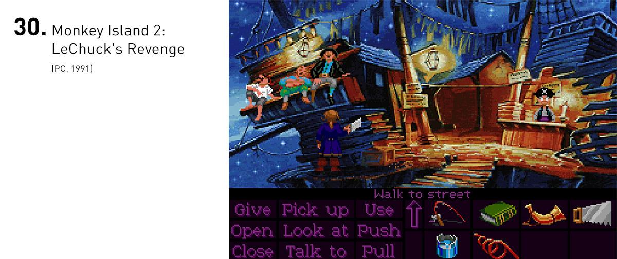 Monkey Island 2: LeChuck's Revenge levou em frente o delicioso mundo apresentado por Ilha dos Macacos, aumentando tanto o humor quanto os absurdos daquele universo. Ótimos puzzles e personagens cativantes o marcam, para alguns, como o melhor da série.