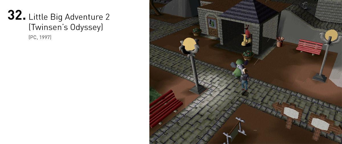 A charmosa e inventiva aventura com toques de RPG do criador de Alone in the Dark trazia um escopo raro de se ver em jogos do período. Além dos cenários grandes, repletos de vida e personagens com os quais você podia interagir de diferentes formas, Twinsen's Odyssey era repleto de segredos, humor e possibilidades.