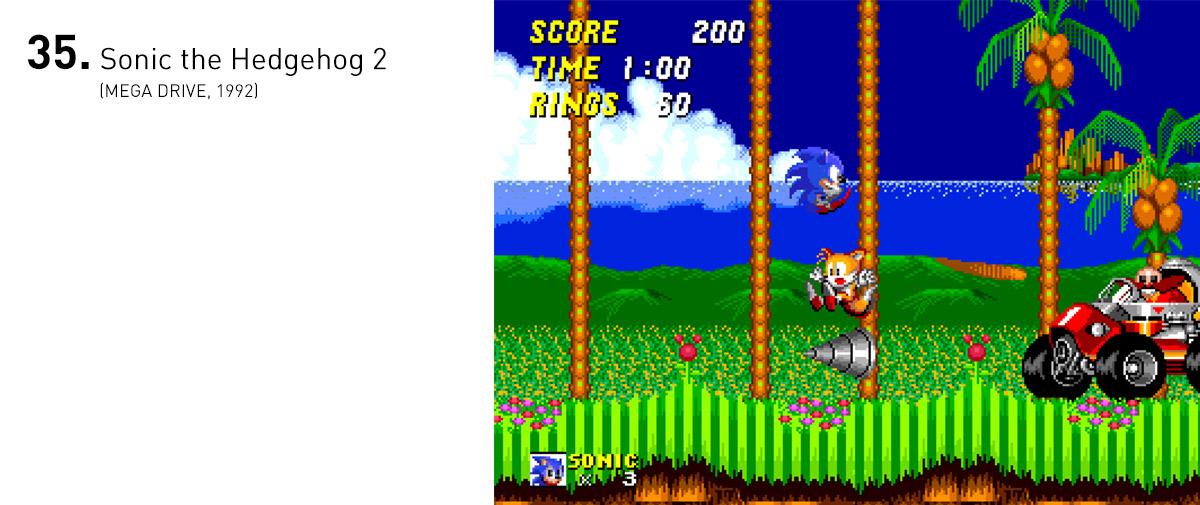 Sonic 2 adicionou uma companhia constante (e imortal) ao ouriço, permitindo que um segundo jogador entrasse e saísse da partida a qualquer momento. Também trouxe fases maiores e mais inventivas e o 'spin dash', que virou característica marcante do ouriço.