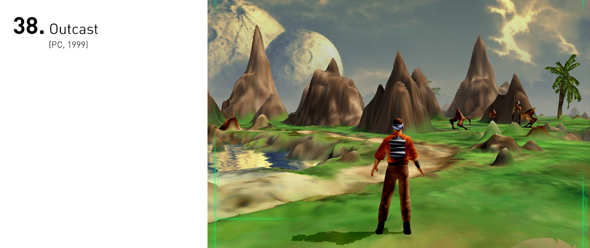 Mesmo com os atrasos em sua produção, Outcast era um jogo à frente de seu tempo: trazia exploração em mundos abertos gigantescos, bem antes de GTA 3 estabelecer o gênero, tinha uma trama envolvente ambientada em um mundo alienígena que se moldava às suas decisões, além de gráficos espantosos para a época.