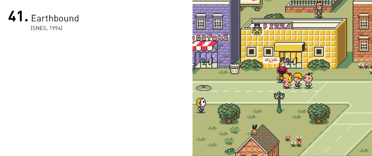 Conhecido como Mother 2 no Japão, Earthbound desviou dos temas e clichês comuns dos RPGs da época e abusou da psicodelia típica de uma viagem de LSD. Tudo isso em um console da Nintendo. Kudos.
