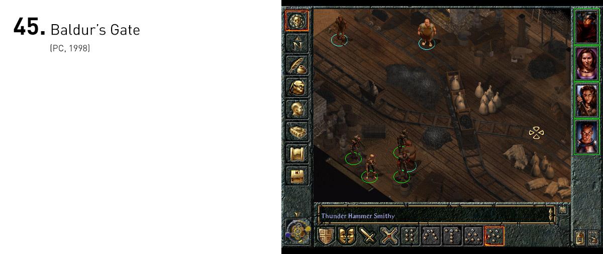 Usando o sistema de RPG Advanced Dungeons & Dragons, Baldur's Gate deu origem a uma complexa e envolvente aventura cujas decisões e estratégias do jogador afetavam profundamente o mundo ao seu redor.