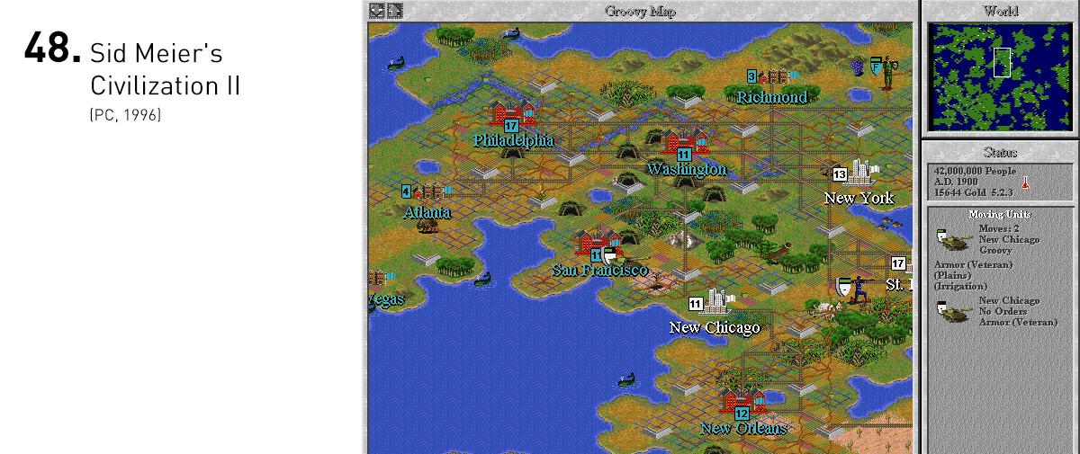 Amplamente aprimorado em relação ao primeiro jogo, Civilization II era tão complexo e orgânico quanto acessível, graças à sua interface intuitiva. As possibilidades estratégicas brotavam das suas decisões, dando vida a múltiplos e intrigantes cenários diplomáticos.