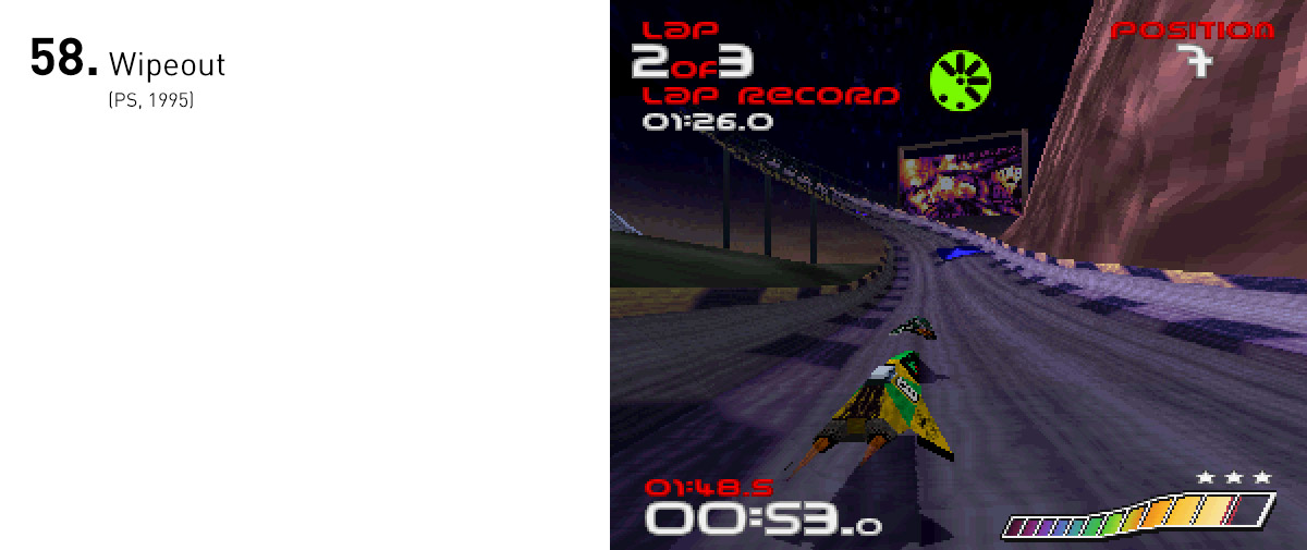 A combinação de velocidade, futurismo e cultura digital fez de Wipeout um ícone da sofisticação e intensidade dos videogames nos anos 90.