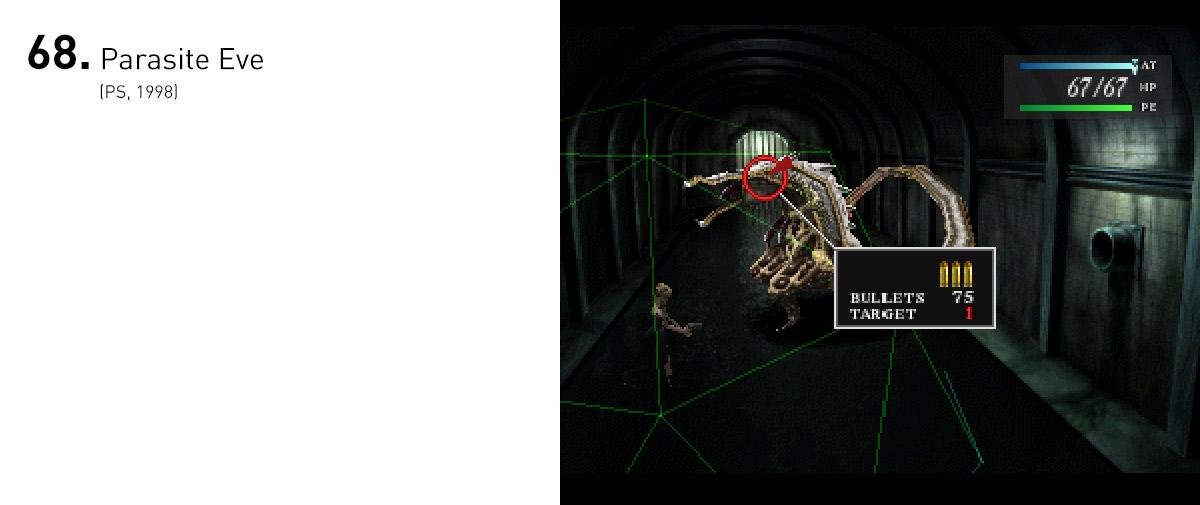 Baseado em um livro homônimo, Parasite Eve foi uma interessante fusão dos estilos e mecânicas de RPGs em turno e survival horrors, gêneros tão populares da época.